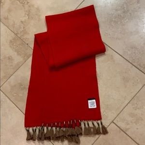 J Crew red scarf with tassels NWOT